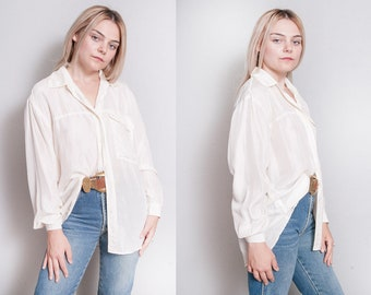 Vintage 1990's | OS | 100% Silk | Ivory | Button Down | Minimalist | Blouse | OS or SML