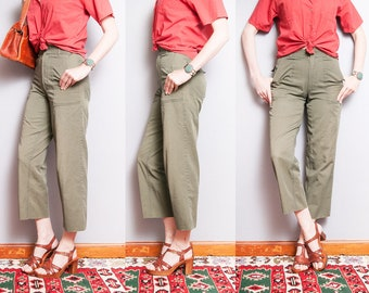 Vintage 1970's/1980's | Army Green | Army Issue | Military | High Waist | Cotton | Pants | S
