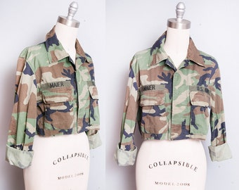 Vintage 1980's/1990's | Woodland | Cropped | Camo | Army Issue | Military | Jacket | M