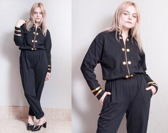 Vintage 1980's/1990's | Black & Gold | Military Style | Pant | Jumpsuit | 100% Cotton | Playsuit | S