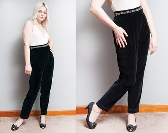 Vintage 1950's | Black | Velvet | Ankle | Side Zip | High Waist | Pants | S