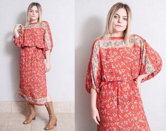 Vintage 1970's | Red | Floral & Bird Motif | Dolman Flowy Sleeve | Bohemian | Dress | S/M