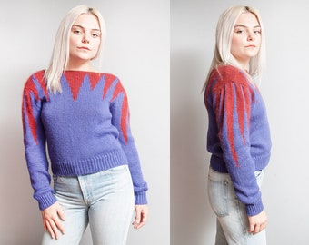 Vintage 1980's | Purple & Red | New Wave | Princess Sleeves | Pullover | Sweater | S