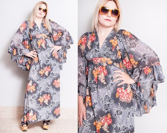 Vintage 1970's | Floral | Empire Waist | Full Flowy Sleeves | Maxi | Dress | XS/S