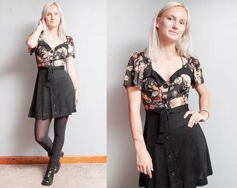 Vintage 1960's/1970's | Black | Floral | Mod | Boho | Mini | Dress | XS