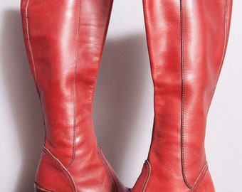 Vintage 1970's | Ox Blood | Leather | Platform | Boots | Made in Argentina | Size 7.5 to 8