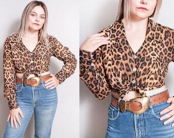 Vintage 1990's | Leopard | Animal Print | Cropped | Button Down | Blouse | Top | S/M
