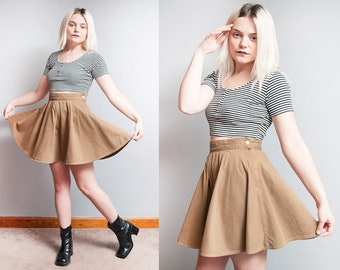 Vintage 1990's | Brown | Armani Jeans | 100% Cotton | Skater | Mini | Skirt | XS/S
