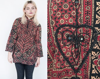 Vintage 1970's | Ethnic | Mirrored | Cotton | Mandarin Collar | Top | Blouse | M/L