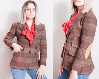Vintage 1970's | Evan-Picone | Brown | Plaid | Fitted | Wool | Blazer | Jacket | XS