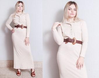 Vintage 1970's | Oatmeal | Maxi | Sweater | Minimalist | Dress | S