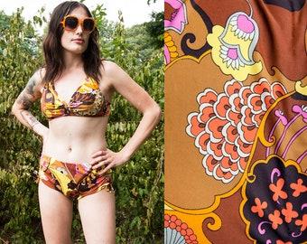 Vintage 1960's | Psychedelic | Two Piece | Boho | Bikini | XS