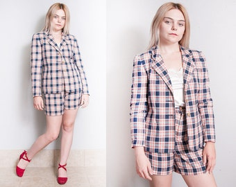 Vintage 1980's/1990's | Liz Claiborne | 2 Piece | Plaid | Shorts | Blazer | 100% Cotton | Suit Set | XS/S Petite