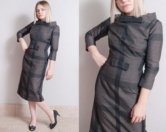 Vintage 1960's | Black & Gray | Fitted | Wiggle | Mid Century | Dress | S