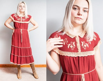 Vintage 1970's | 100% Cotton | Hand Floral Embroidered | Bohemian | Dress | M