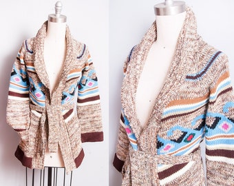Vintage 1970's | Striped | Patterned | Space Dye | Cardigan | Sweater | XS/S