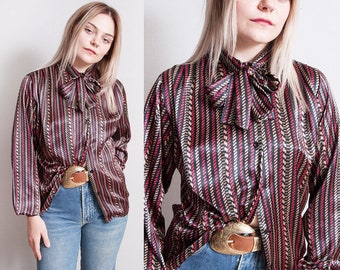 Vintage 1970's | Ascot Collar | Printed | Patterned | Button Down | Blouse | S/M