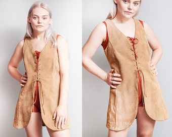 Vintage 1970's | Tan | Suede | Long | Boho | Lace Up | Vest | S