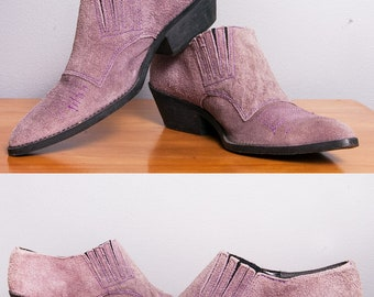 Vintage 1980's | Purple Suede | Western | Booties | Made in Brazil | Size 7