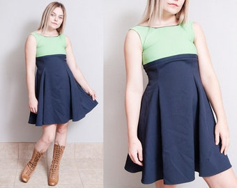 Vintage 1960's | Color Block | Empire Waist | MOD | Scooter | Mini | Dress | XS XXS