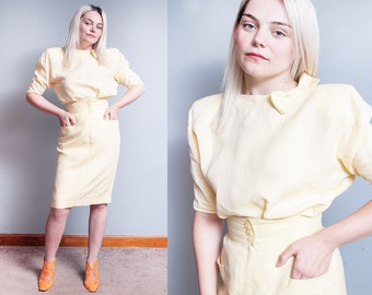 Vintage 1980's | UNGARO | Yellow | Two Piece | Top & Skirt | Outfit | High Waist | Pencil | Skirt | Bow | XS/S