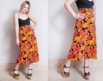 Vintage 1960's/1970's | Psychedelic | Floral | Velveteen | Bohemian | Midi | Skirt | XS/S