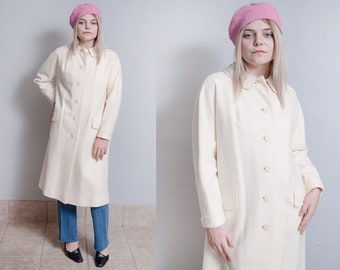 Vintage 1960's | Winter White | Wool | Overcoat | Long | Mid Century | Coat | M/L