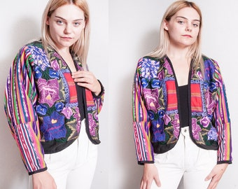Vintage 1980's/1990's | Floral | Embroidered | Colorful | Guatemalan | Cropped | Cotton | Jacket | S/M