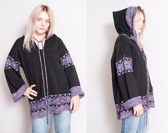 Vintage 1970's | Oversized | Pullover | Hooded | Space Dye | Sweater | OS or SML