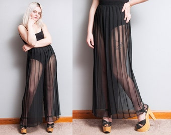 Vintage 1980's/1990's | Black | Sheer | Accordion Pleated | High Rise | Wide Leg | Bell Bottom | Pants | S
