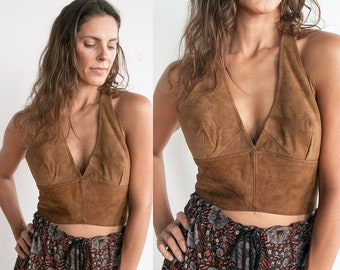 Vintage 1960's/ 1970's | Brown | Suede | Boho | Hippie | Deep V | Cropped | Halter | Top | S/M