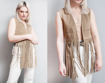 Vintage 1970's | Leather | Long Fringe | Boho | Vest | XS/S