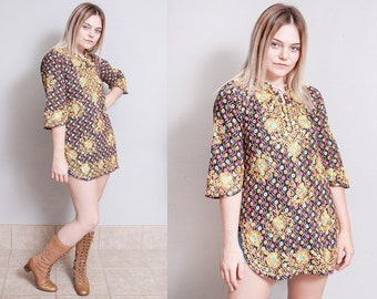 Vintage 1970's | Floral | Hand Embroidered | Bohemian | Cotton | Tunic | Top | S