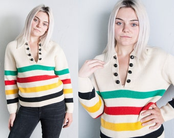 Vintage   Rare & Authentic   HUDSON'S BAY   Striped   100% Wool   Pullover   Sweater   S