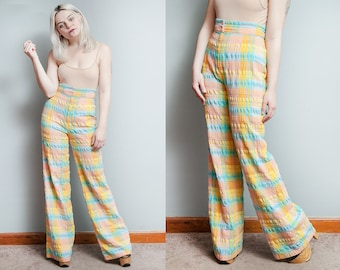 Vintage 1970's | Plaid | Pastels | High Rise | Bell Bottom | Pants | S