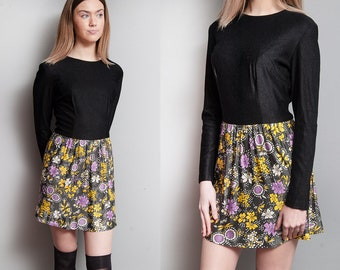 Vintage 1960's/ 1970's | Black | Floral | Boho | Mod | Mini | Dress | S