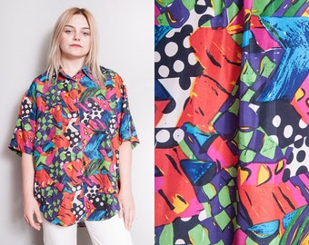 Vintage 1980's/1990's | Mixed Pattern | Colorful | 100% Silk | Oversized | Button Down | Blouse | OS or SML
