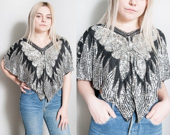 Vintage 1970's | Black & Silver | Sequin | Butterfly | Disco | Silk | Top | S/M