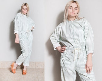 Vintage 1980's | OS | Striped | Jumpsuit | Coveralls | 100% Cotton | Playsuit | M