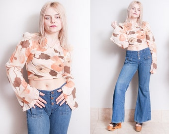 Vintage 1970's | Floral | Cropped | Wrap | Top | Bell Sleeves | XS