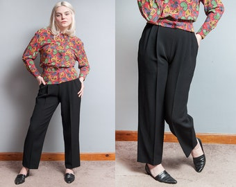 Vintage 1980's | Black | ESCADA | Textured | Pleated | High Waist | 100% New Wool | Trouser | Pants | XS/S