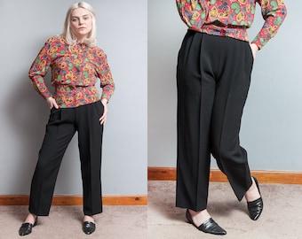 Vintage 1980's | Black | ESCADA | Textured | Pleated | High Waist | 100% New Wool | Trouser | Pants | XS/S