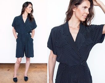 Vintage 1980's | B/W | Polka Dot | Short | Romper | Playsuit | Jumpsuit | M