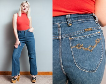 Vintage 1970's | High Rise | Wrangler | Jeans | Medium Wash | 5 Pocket | Denim | S