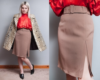 Vintage 1990's | Luciano Soprani | Brown | 100% Wool | Skirt | Made in Italy | S