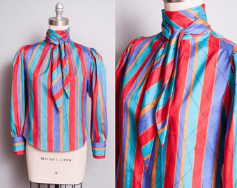 Vintage 1970's | Ascot Collar | Bright & Colorful | Striped | Princess Sleeves | Blouse | Top | S
