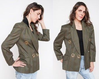 Vintage 1990's | Moschino | Green | Plaid | Virgin Wool | Blazer | Jacket | M
