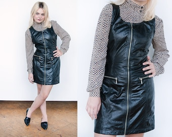 Vintage 1990's | Black | Leather | Jumper | Body Con | Dress | S