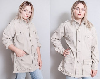 Vintage 1980's | Banana Republic | Unisex | Khaki | Safari | Jacket | OS or SML