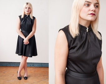 Vintage 1960's | Black | Fit & Flare | Minimalist | Mid-Century | Dress | S/M